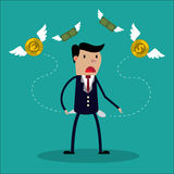 Biznesmen żadny pieniądze - mężczyzna w poszukiwaniu pieniądze Zdjęcia Royalty Free