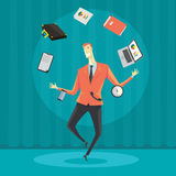 Biznesmen żongluje z biurowym wyposażeniem Zdjęcie Stock