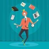 Biznesmen żongluje z biurowym wyposażeniem Zdjęcia Royalty Free