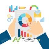 Biznesmen analizuje dane ilustracja wektor