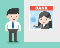 Biznesmen bankowiec pyta dla pieniądze ale on przy banka kontuarem, jest b ilustracji