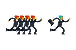 Biznesmen biega od konkurentów Szef i walizka Biznes s ilustracja wektor