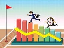 Biznesmen biega rasy przeciw czasowi na wykresie Obraz Stock