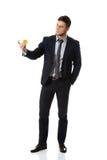 Biznesmen bierze jego osobistą kartę zdjęcia royalty free