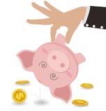 Biznesmen Bierze pieniądze Z Ślicznego prosiątko banka pojęcia prowadzenia domu posiadanie klucza złoty sięgający niebo ilustracji