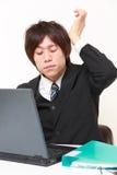Biznesmen cierpi od migreny Zdjęcia Royalty Free