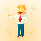 Biznesmen cieszy się nowego pomysł, wektorowa ilustracja Obrazy Stock