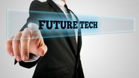 Biznesmen Cyka szkło z Przyszłościową techniki etykietką Fotografia Stock