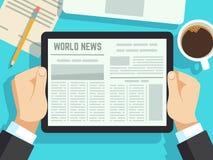 Biznesmen czytelnicza wiadomość dalej na stole Online gazeta, dzienni magazyny Wiadomości gospodarcze przy śniadaniowym wektorowy royalty ilustracja