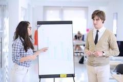 Biznesmen daje prezentaci jego koledzy przy pracy pozycją przed flipchart obrazy royalty free