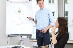 Biznesmen Daje prezentaci kolega W biurze Obraz Royalty Free