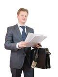 biznesmen dokumentuje czytanie Fotografia Royalty Free