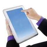 Biznesmen dotyka błękitnego ekranu cyfrową pastylkę zdjęcia royalty free