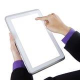 Biznesmen dotyka biel parawanową cyfrową pastylkę zdjęcia stock