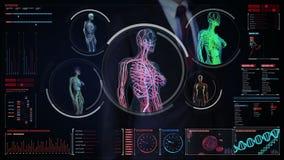 Biznesmen dotyka cyfrowego ekran, Żeńskiego ciała skanerowania naczynie krwionośne, limfatyczny, krążeniowy system w cyfrowym pok ilustracji