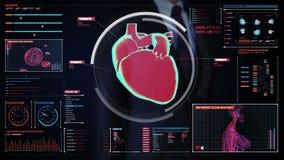 Biznesmen dotyka cyfrowego ekran, skanuje serce sercowonaczyniowy ludzki system technologia medyczna ilustracji
