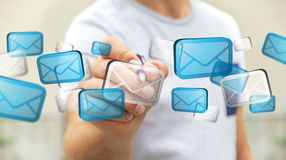 Biznesmen dotyka cyfrowego email ikon '3D rendering' Obrazy Stock