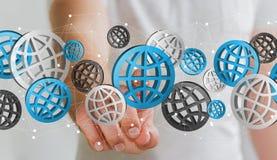 Biznesmen dotyka cyfrowego sieci ikon '3D rendering' Fotografia Stock