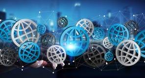Biznesmen dotyka cyfrowego sieci ikon 3D rendering Zdjęcia Stock