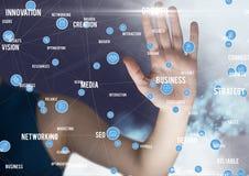Biznesmen dotyka cyfrowo wytwarzać złączone ikony obraz royalty free