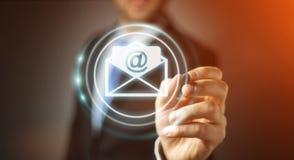 Biznesmen dotyka 3D renderingu emaila latającą ikonę z cyfrą Zdjęcia Stock