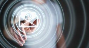 Biznesmen dotyka 3D renderingu emaila latającą ikonę z jego żebrem Zdjęcia Royalty Free