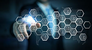 Biznesmen dotyka pociągany ręcznie antivirus system Zdjęcia Stock