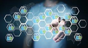 Biznesmen dotyka pociągany ręcznie antivirus system Obraz Stock
