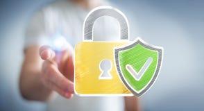 Biznesmen dotyka pociągany ręcznie antivirus system ilustracja wektor