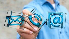 Biznesmen dotyka przejrzystą sześcianu kontaktu ikonę z cyfrowym Fotografia Royalty Free