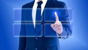 Biznesmen dotyka wirtualną guzik mapy matrycę Odbitkowa przestrzeń dla twój wizerunku lub teksta zdjęcia royalty free