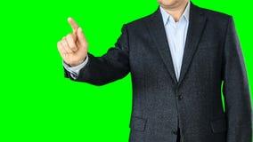 Biznesmen dotyka wirtualnego ekran Ręka dotyka gesty zbiory wideo