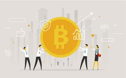 Biznesmen drużyny chwyt ogromny bitcoin ilustracja wektor