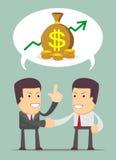 Biznesmen dyskusja o zysku royalty ilustracja