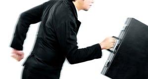 Biznesmen działająca prędkość dla jego celu przed konkurentem wysoko Fotografia Stock
