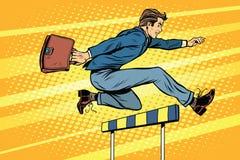 Biznesmen działające przeszkody royalty ilustracja