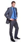 biznesmen folujący popielaty długości prążka kostium Zdjęcie Royalty Free