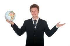 biznesmen globe gospodarstwa Zdjęcie Royalty Free