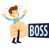 Biznesmen Gniesie szef Dużą ręką royalty ilustracja