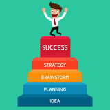 Biznesmen iść do sukcesu, schody sukces Obrazy Stock