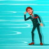 Biznesmen Iść Przeciw Wiatrowemu Podmuchowemu wektorowi Przeciw przeszkodom kierunek przed Przeciwnik, strategii pojęcie kreatywn ilustracji