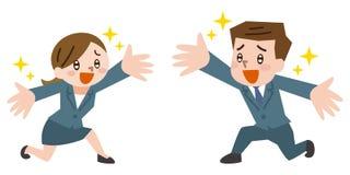 Biznesmen i bizneswoman jesteśmy mile widziany ilustracji