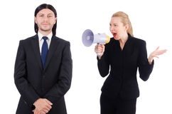 Biznesmen i bizneswoman z megafonem Fotografia Stock