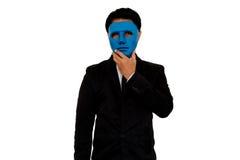 Biznesmen i maska Zdjęcia Royalty Free