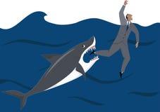 Biznesmen i rekin royalty ilustracja