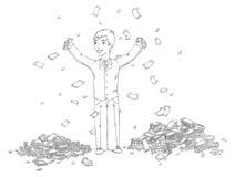 Biznesmen i stos pieniądze royalty ilustracja