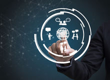 Biznesmen ikona na networking systemu i ręka Fotografia Stock