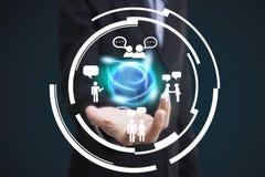 Biznesmen ikona na networking systemu pojęciu i ręka Obraz Royalty Free