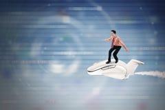 Biznesmen jedzie samolot wśrodku cyberprzestrzeni Obrazy Royalty Free