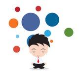 Biznesmen jest medytujący i relaksujący w lotos pozy biznesu joga Wektorowa ilustracja na bielu i bąbla spławowym tle, Obraz Stock